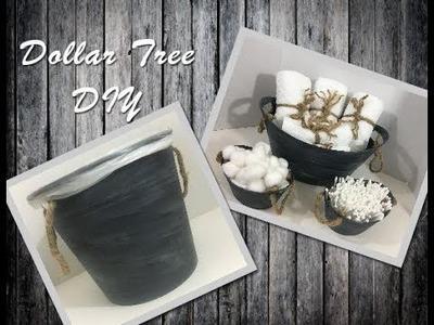 DIY Rustic Bathroom Wastebasket using Dollar Tree Items