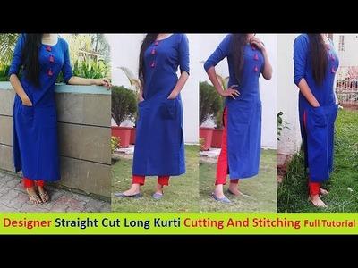 DIY:Straight Cut Long Kurti Cutting And Stitching Step by Step Part -1