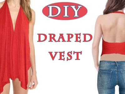 DIY T-shirt Draped Vest | NO SEW | EASY 5 min. SUMMER DIY PROJECT