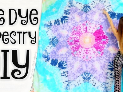 DIY TAPESTRY - Mandala Bed Sheets Tie Dye - Star Tie-Dye How To - SoCraftastic