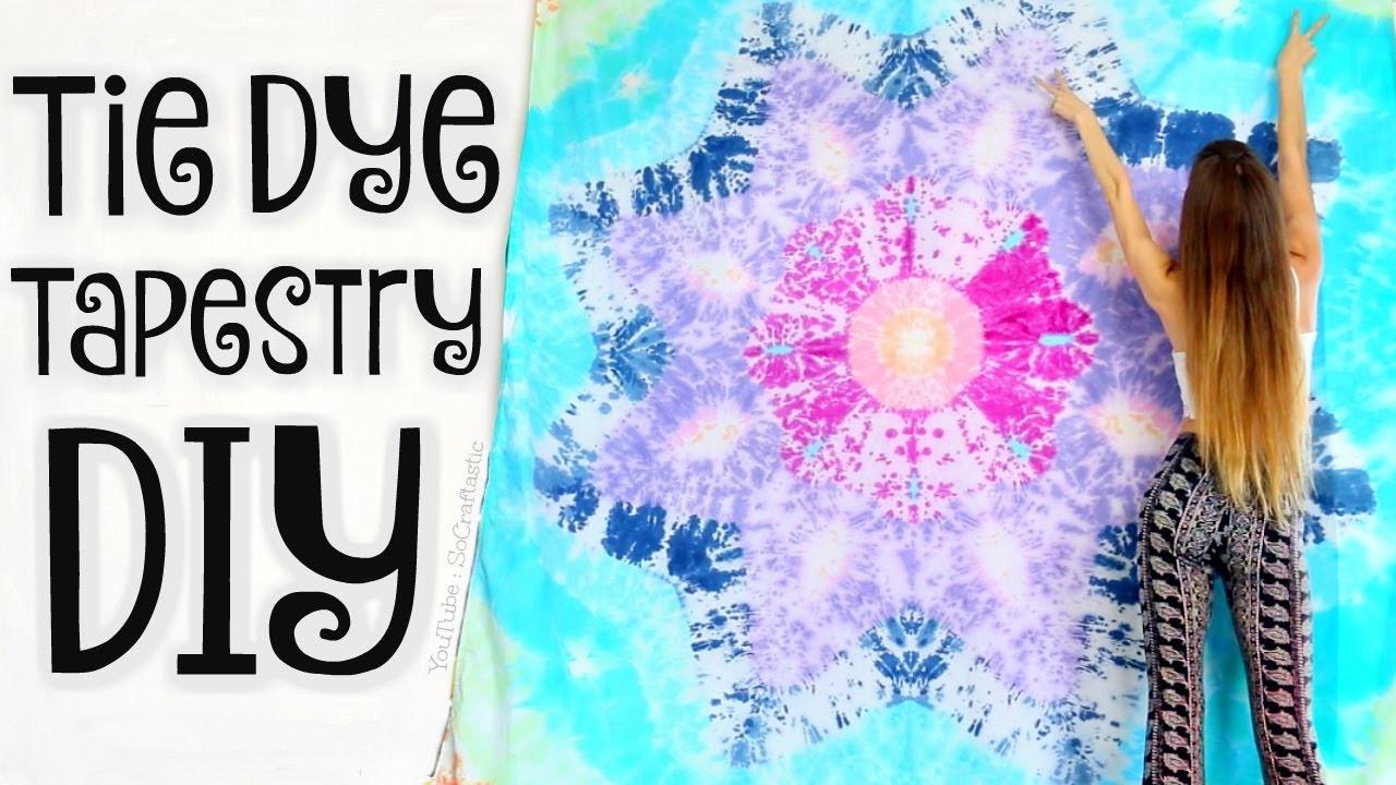 DIY TAPESTRY - Mandala Bed Sheets Tie Dye - Star Tie-Dye How To - SoCraftastic
