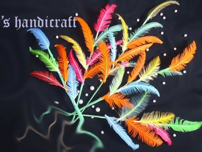 Feather craft ideas. How to make a feather stick. Home decoration ideas.