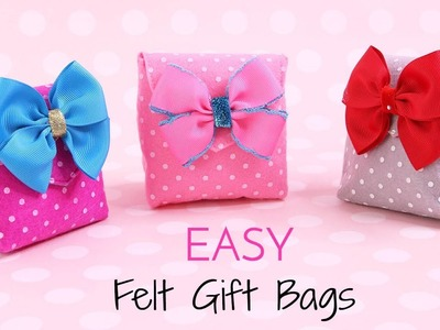 How to Make a Gift Bag, DIY Small Gift Bags, Felt Crafts, Easy with a free template