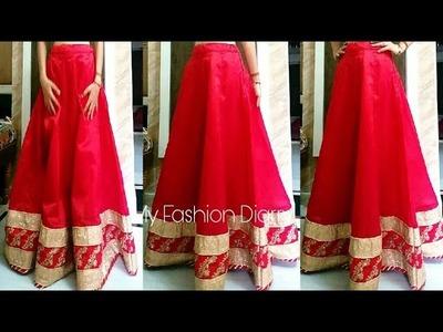 How to make kalidar { Anarkali } lahnga with BORDER. LACES  | FULL TUTORIAL | DIY