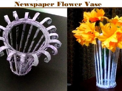 How to make newspaper flower vase GULDASTA | UNIQUE DIY EASY KIDS CRAFT FOR SUMMER CAMP IN LOW COST
