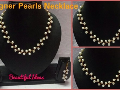 How to Make Pearl Necklace Set.Pearl Designer Necklace Earrings Set Making at Home. Tutorial