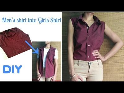 No Sew DIY : Convert Men's Shirt Into Girls. Dress.Shirt.casual.in 5 minutes.VIEWER'S CHOICE