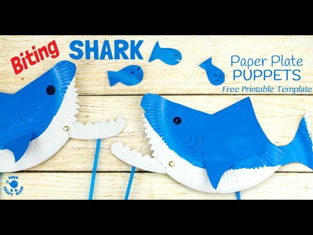Paper plate shark puppet craft for Paper plate puppets templates