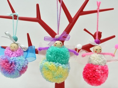 Pom Pom Fairies dolls diy yarn art craft how to make it handmade room decor ideas tutorial fun play