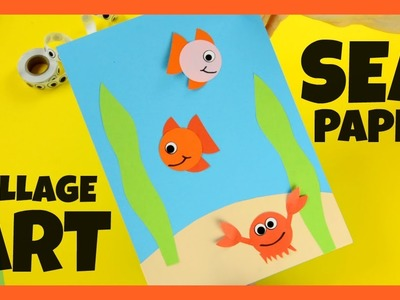 Sea Paper Collage Art - paper craft for kids