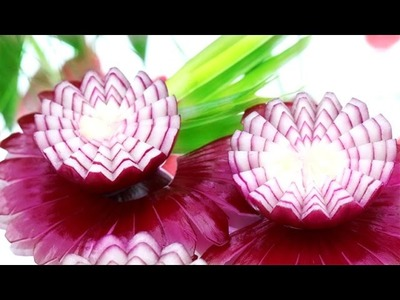 Beautiful Red Onion Design | How To Make Vegetable Carving Garnish | Food Art