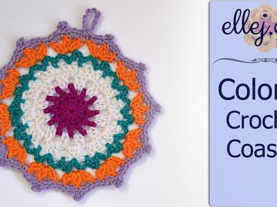 Colorful Crochet Coaster ○ Free Step by Step Crochet Tutorial