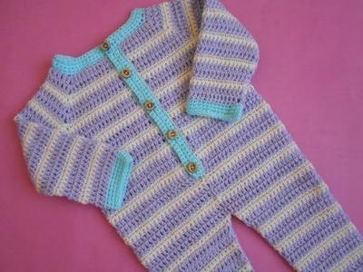 (Crochet-Crosia) Crochet Baby Romper.Dungarees tutorial