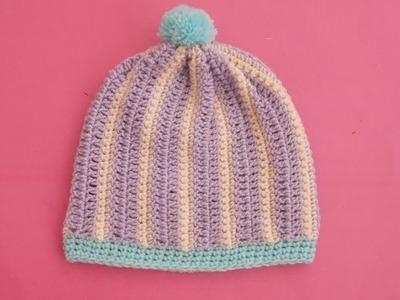 (Crochet-Crosia) how to crochet baby hat tutorial