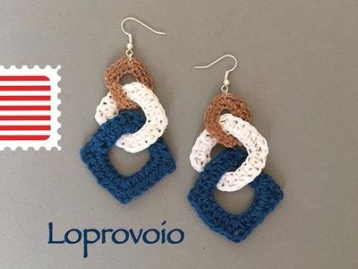 Crochet earrings - interlock square