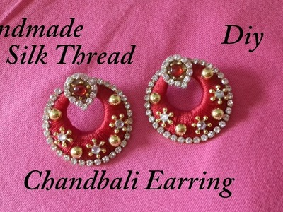 DIY || how to make silk thread chandbali earring at home || chandbali earring tutorials