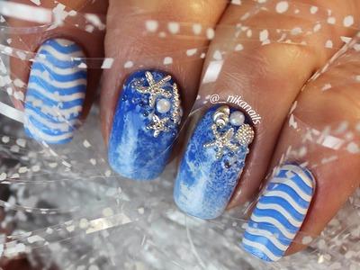 Easy Sea Beach Nail Art Design DIY | Sea Nails Tutorial