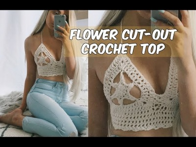 FLOWER CUTOUT CROCHET BIKINI TOP TUTORIAL