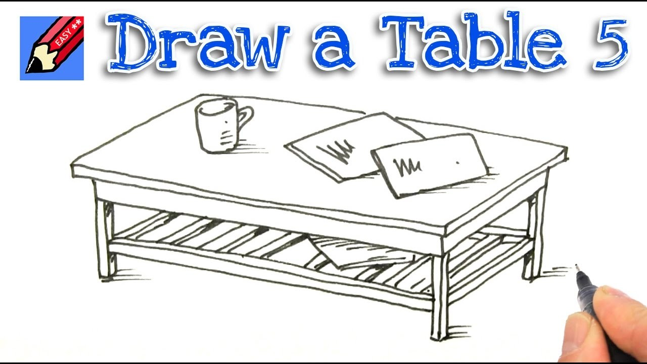How To Draw A Coffee Table Real Easy