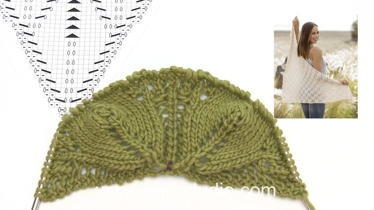 How to knit the shawl with leaf pattern in DROPS 176-21