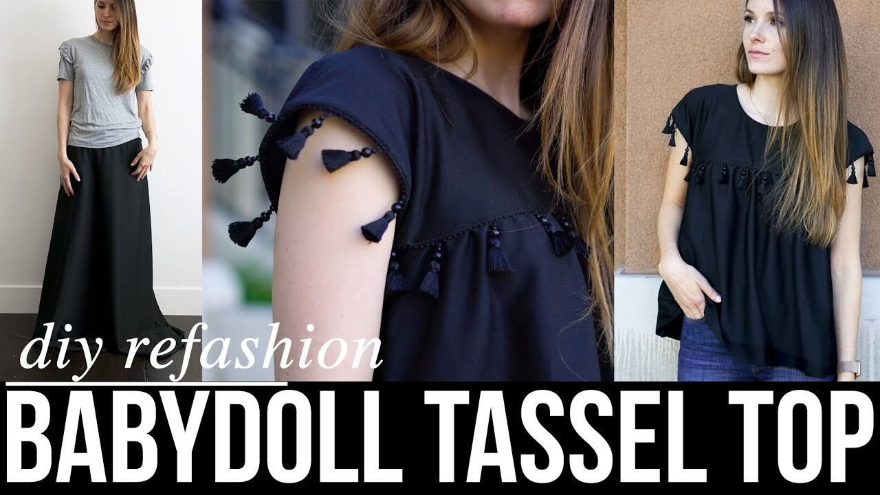 How to make a DIY babydoll top with tassels refashion