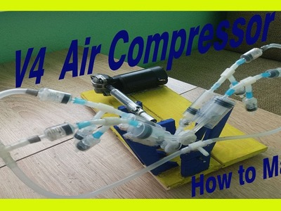 How to make a powerful air compressor V4 using a syringe.