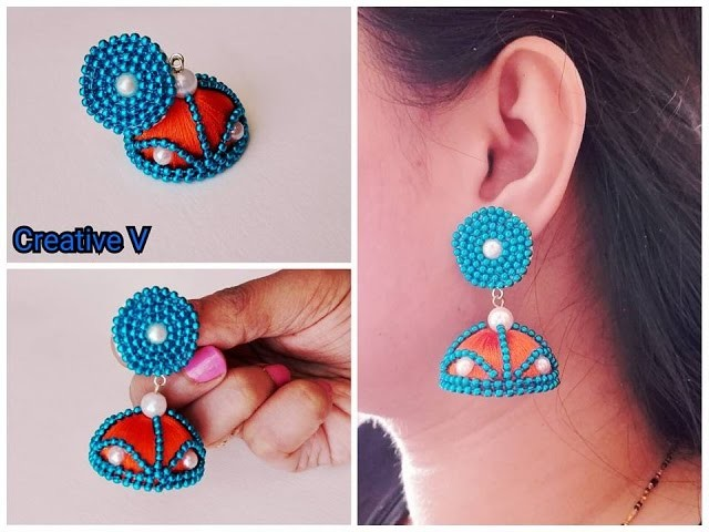 How to make designer silk thread bridal jhumka earrings at home. Tutorial