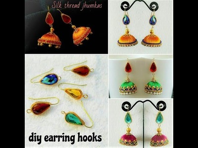 How To Make Earring Hooks For Jhumkas||Making Simple And Easy Silk Thread Jhumkas