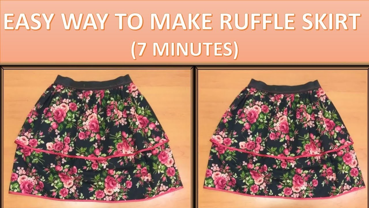 How to make pattern and to sew a layered ruffle skirt with elastic waist