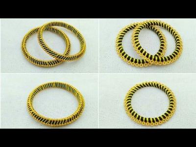 How To Make Silk Thread Bangles . DIY. How To Make Designer Silk Thread Fancy Side Bangles