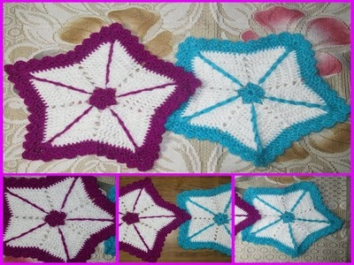 How to make solid star table mat.coaster using crochet[ Hindi]
