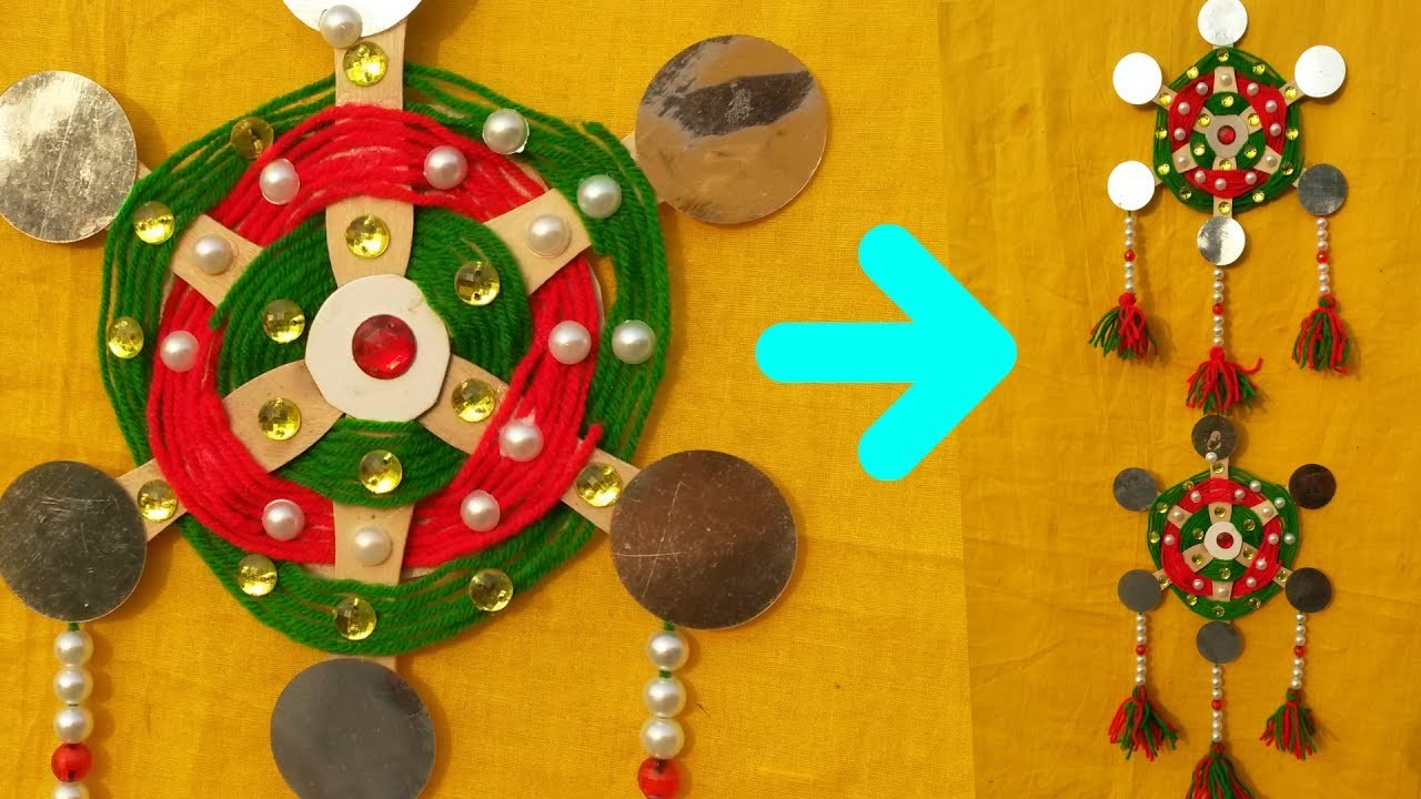 How To Make Wall Hanging || DIY Wall Hanging From Woolen Thread and Ice Cream Sticks