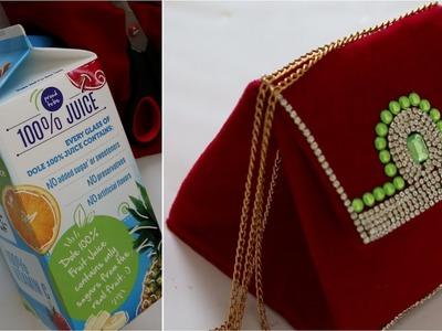 How To Turn  Juice Carton into Designer  Bridal Handbag