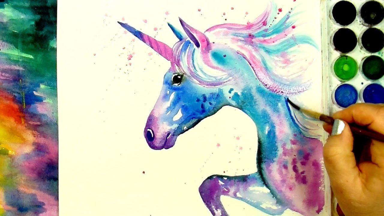 """Learn How to Paint And Color """"A Beautiful Unicorn"""" - A Watercolour Speed Painting Tutorial"""