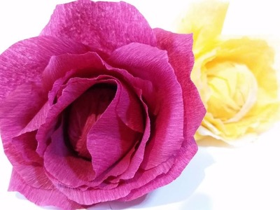Paper flowers rose diy tutorial easy From crepe paper tutorial making realistic paper flowers