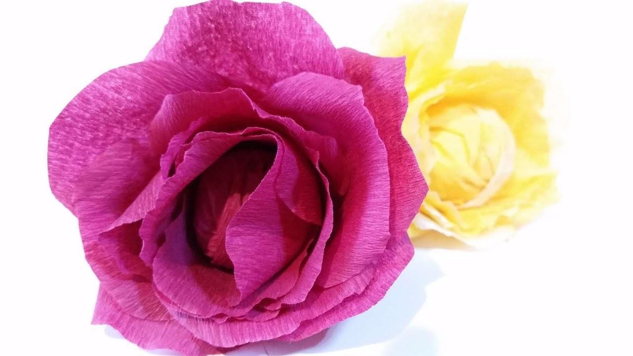 Paper Flowers Rose Diy Tutorial Easy From Crepe Paper Tutorial
