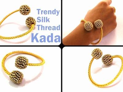Silk Thread Jewellery | How to make a Trendy Silk Thread Kada using Stone Balls | knottythreadz.com