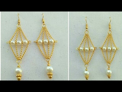 Simple And Easy Earrings In 5 Minutes. How To Make Designer Hangings. DIY. Jewelry Designs