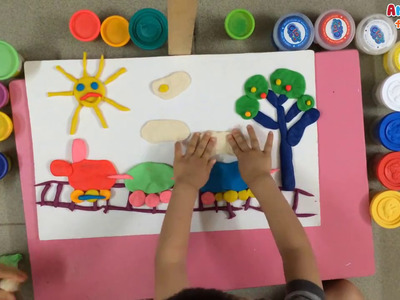 Art for kids | Clay art for kids | How to make train with play doh