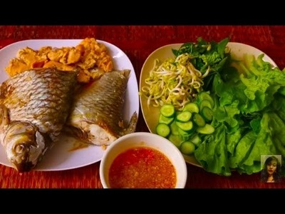 Cambodian Family Food Cooking AT Home, How To Make Steam Fish Eating With Fresh Vegetable And Sauce