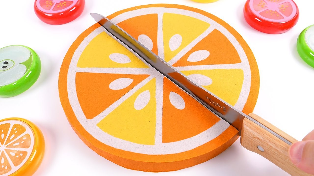 DIY How to make Kinetic Sand Cake Orange Skwooshi Baby Learn Colors for Children Kids