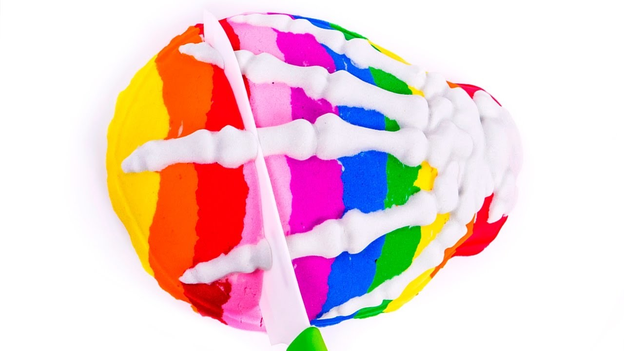 DIY How to Make Kinetic Sand Rainbow Skeleton Hand Cake Learn Colors for Children Kids