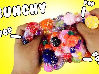 DIY | Pom Pom Crunchy Slime - HOW TO MAKE CRUNCHY SLIME!!!