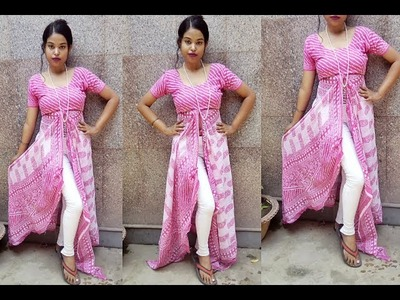 Front Slit Kurti Made From Old Dupatta | How to make Front Slit Kurti