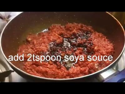 Homemade Schezwan sauce recipe.how to make schezwan sauce .Ramzan special  (English subtitle)