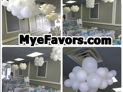 How to Make a Floating Balloon Cloud - Baby Shower Heaven Sent Theme Party