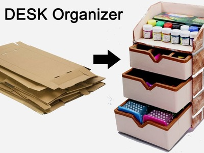 How to Make a Stationary.DIY Desk Organizer Using Cardboard | By CraftingHours