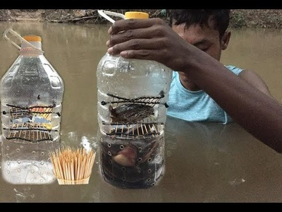 How to make Bottle with Toothpicks Fishing trap 500 Second (100% Working)