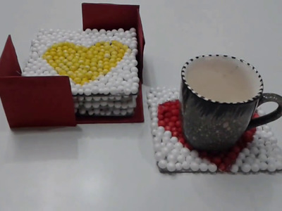How to make coaster set | Thermocol ball Coaster set with stand | Heart Coasters |