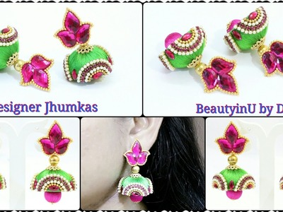 How to make Designer Silk Thread Jhumkas at home. Silk Thread Jewellery